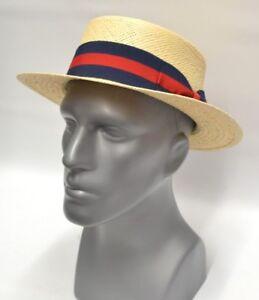 Mens Natural Boater 100% Straw Skimmer Gatsby Hat BC-632