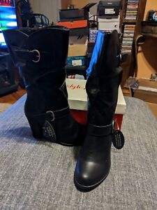 Style & Co Sachip Block-heel Mid-shaft Almond Toe Boot Size 7.5 Color Black