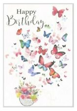 Open Female Birthday Card ~ Basket Butterfly Surprise By Greetings ~ Free P&P