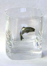 Trucha Peltre Adorno Par De Cristal Vasos presentación Caja De Pesca Con Mosca Regalo