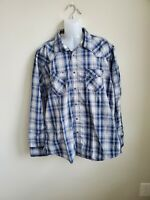 Used Wrangler Men's Blue and White Plaid Button Down Shirt Size XXL 100% Cotton
