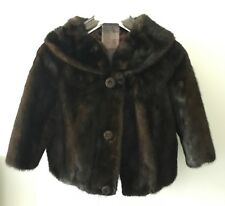 VINTAGE REAL  BROWN MINK FUR EVENING JACKET WITH BROWN LEATHER PANELS
