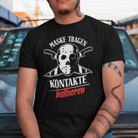 Maske tragen Kontakte halbieren Jason Horror Sprüche Comedy Lustig Spaß T-Shirt