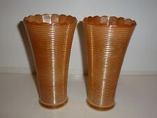 Gorgeous Vintage Pair Peach Luster Glass Vases, Horizonal Rib Design