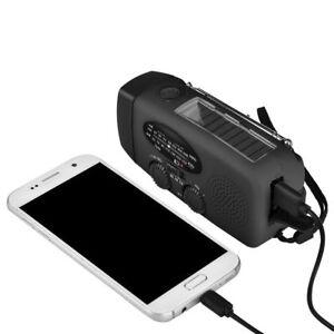 Solar Hand Crank Dynamo AM/FM/WB Weather Radio 3 LED Flashlight Survival Charger