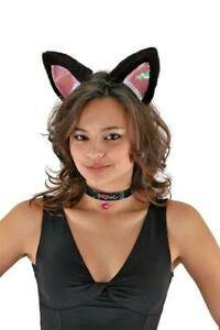 Cat Ears, Collar and Tail (Black/Pink) Kid and Adult Costume Kit Unisize