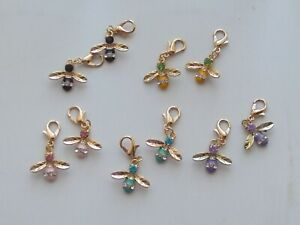 10 Stitch Markers BEES  5 x 2  Rhinestones Gold Plated.Knitting,Crochet,Charms