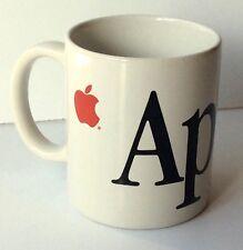 APPLE COMPUTER Coffee Mug Cup White Ceramic w/ Big Black Letters Small Red Logo