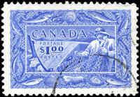 Stamp Canada Used 1951 VF Scott #302 $1.00 Fisherman Stamp