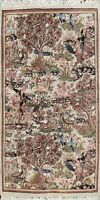 Vintage Hunting Design Shahreza Hand-knotted Area Rug pictorial Wool Carpet 3x4