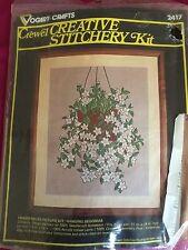 Hanging Begonias Crewel Creative Stitchery Kit VTG Vogart Crafts Embroidery