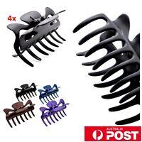 4pc/ 8cm Matte Plastic 7 Jaw Hair Claw Clip Grip Styling Clamp Blue Black Purple