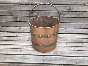 Vintage copper brass bucket planter logs fireplace rivits hanging basket