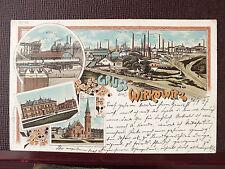 Farblitho - Witkowitz / Witkowice - gel. 1897- 4-Bild Karte , u.a. Fabrikanlagen