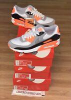 New Nike Air Max 90 Grey Total Orange Black Men's Size 8.5 Sneakers CW5458-101y