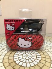 Sanrio Hello Kitty Black Horn Rimmed Retro Sunglasses with Silver Bow and Case!