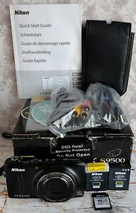 Nikon Black Coolpix S9500 Compact Camera + Accessories + Box VGC GPS WI-FI