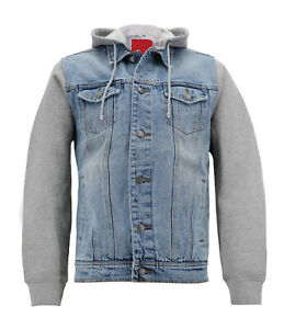 Men's Casual Cotton Denim & Jersey Sleeves Trucker Jacket With Removable Hood