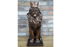 Extra Large Lion With Crown Garden Statue Sculpture Ornament Home Decoration
