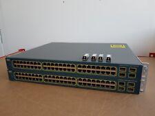 2 X CISCO WS-C3560-48PS-S interruptor de PoE con 4 X GLC-SX-MM Ccna Ccnp Ccie Lab