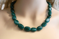 "Beautiful 14k Gold EZ Clasp Lock Natural Emerald Flat Beads Necklace 20.5"" long"