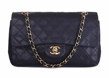CHANEL Black Leather Quilted Small Double Flap GHW CC Shoulder Bag Purse