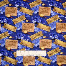 Christmas Fabric - Polar Express Train Ticket & Bell Blue - Springs 1.77 YARD