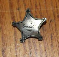 Vintage Oakside School Peekskill NY Star Lapel Pin badge Junior Sheriff Sterling