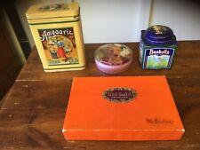 Vintage Amgoorie, Bushells, GJ Coles Tins &MacRobertson's Old Gold Chocolate Box