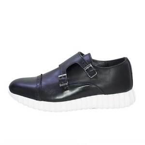 Sneakers bassa uomo scarpe running doppia fibbia made in italy vera pelle nappa