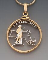 "Massachusetts U.S. State Coin Pendant Necklace.Hand cut - 7/8"" diameter"