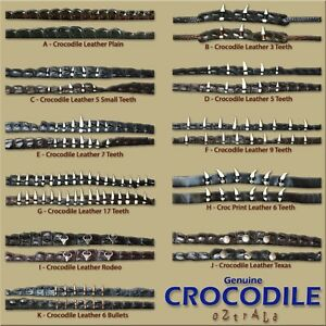 【oZtrALa】Genuine CROCODILE Leather HAT BAND Mens Alligator Outback DUNDEE Cowboy