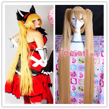 120cm Vocaloid Hatsune Miku Straight Blonde Clip-in Ponytails Cosplay Wig ML128
