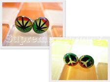 Fashion Men Women 2 pairs Reggae Rasta Marley Leaf Peace Earrings