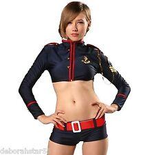 Ladies Sea Captain Sailor Fancy Dress Costume Shorts Top UK 12-14