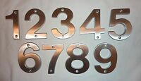 """Decorlux Solid Brass House Numbers 4"""" 1 2 3 4 5 6 7 8 9 SATIN CHROME FREE SHIP"""