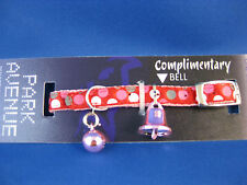 Cat Collar - Reflective - Park Avenue Red Circle Pattern with Safety Elastic
