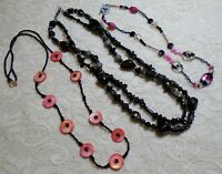 VINTAGE TO NOW MULTI COLOR & BLACK GLASS BEADED NECKLACE LOT SHELL PEARL