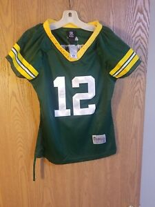Green Bay Packers Aaron Rodgers #12 Women's Sewn Bling Jersey Size Small NWT