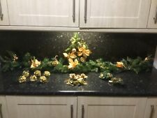 DELUXE 170cm CHRISTMAS GARLAND GOLD Holly Ring 2 Candle holders 6 Baubles bundle