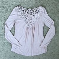 Anthropologie Meadow Rue Top Lace Pink Size XS