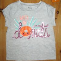 Gymboree Girls Shirt Graphic Tee Top Size XS 4 Donuts Gray Pink Sequins Glitter
