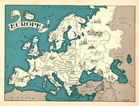 1932 Antique Animated EUROPE Map RARE Cartoon Picture Map of Europe BLU 7259