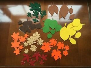 🍁 54 Felt die cut leaves in mixed autumn colours embellishments toppers sticky