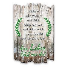 Wandbild Zitat Dein Leben Shabby aus Holz mit Spruch und Motiv Wand-Deko 30x20