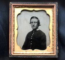 New listing c 1862 6th Plate Ambrotype Drummer Boy? Cadet Uniform Photo Civil War Era Vtg