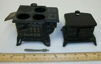 2 Vintage Cast Iron Toy Cook Stoves Salesman's Samples Queen & STAR