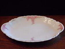 """Vintage Imperial H & C Carlsbad Austria Oval Serving Platter Pink Floral 11 1/4"""""""