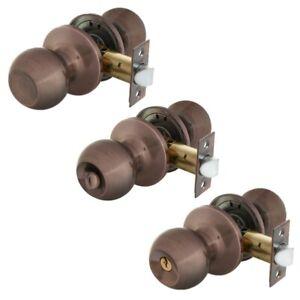 Interior Door Round Knob, Passage / Privacy / Entry Keyed Alike Lock Sets Copper