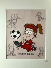 More details for football - red strip - girl - hand drawn & hand painted cel